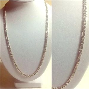 Wide sterling silver figaro chain